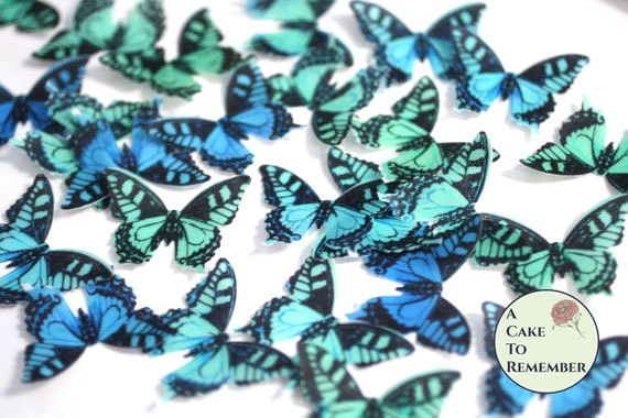 24 green and blue edible cake decorating butterflies