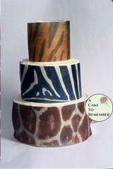 Animal print edible giraffe tiger and zebra wafer paper, 3 sheets