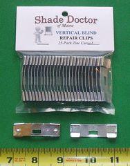 Original SHADE DOCTOR Vertical Blind ZINC CURVED Vane Saver REPAIR CLIPS 25-pack