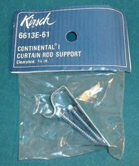 "KIRSCH 4 1/2"" Continental I Valance Rod ~ 3/4"" CURTAIN ROD SUPPORT 6613E-025"