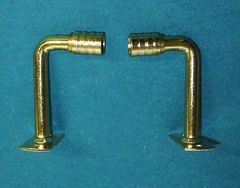 """1 Pair 2"""" PROJECTION Brass Plated EXTENSION BRACKETS for 3/8"""" Steel Rodding"""