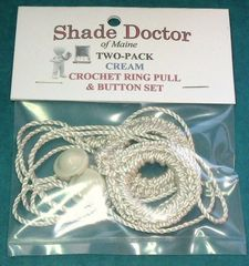 2 Pack Roller Window Shade CREAM RING PULLS & Screw Buttons from Shade Doctor of Maine