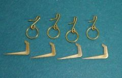 SET of 4 ~ Brass TIE BACK Pin-On RINGS & HOOKS