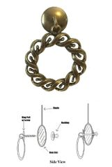 Designer Series Roller Shade Ring PULL - Antique Brass Woven Rope
