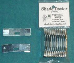 Original SHADE DOCTOR ~ Vertical Blind ZINC CURVED Vane Saver REPAIR CLIPS 12-pk