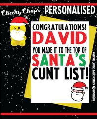 Personalised Christmas Card - XM02 Santa's cunt list