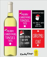 Christmas Wine Label Pack of 4 Label - Rude Offensive
