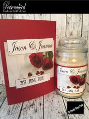 Personalised Wedding Gift Candle and Card (WD3) - 16oz Large