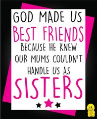 Funny Birthday Cards - God made us best friends C225