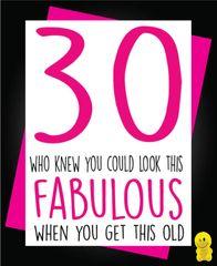 Funny Birthday Cards - 30 Fabulous C203