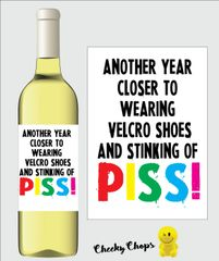 Funny Rude Wine Label Stinking of piss WL02