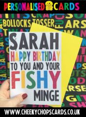 PERSONALISED BIRTHDAY CARD - PO8 FISHY MINGE