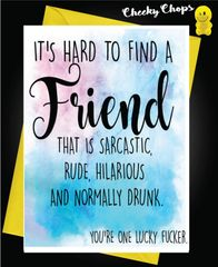 Birthday Card - Best Friend One lucky Fucker C437
