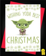 Funny Christmas Cards - Star wars wishing yoda best christmas XM95