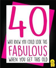 Funny Birthday Cards - 40 Fabulous C202