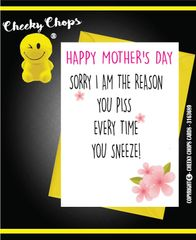 Mother's Day Greeting Card - Piss and sneeze -M8