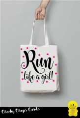 Funny Cheeky Chops Tote/Shopper/Bag/Gift - Run like a girl - TB22