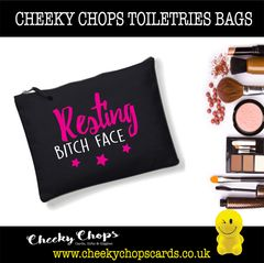 Cheeky Chops - Cosmetics, Toiletries , Wash Bag - Resting Bitch Face CB04