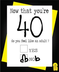 Funny Birthday Cards - Now you're 40 C185