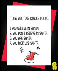Funny Christmas Cards - Four stages in life XM110