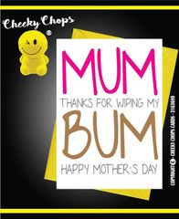 Mother's Day Greeting Card - Wiping my Bum - M21