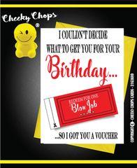 Birthday Card - Voucher - Blow Job c256