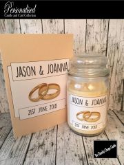Personalised Wedding Gift Candle and Card (WD2) - 16oz Large