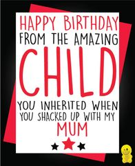 Funny Birthday Cards - Stepdad from your amazing child C229