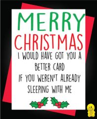 Funny Christmas Cards - Boyfriend Girlfriend Sleeping with me XM92