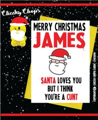 Personalised Santa Loves You Christmas Card XM14