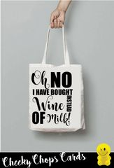 Funny Cheeky Chops Tote/Shopper/Bag/Gift -Wine instead of milk!- TB28
