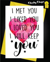 Anniversary Card - I met you, I liked you, I loved you, I will keep you A32