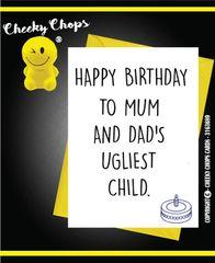 Birthday Card Least ugly child C390