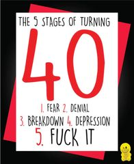 Funny Birthday Cards - 5 stages of turning 40 C127