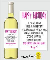 Funny Rude Wine Label Best Friend WL05