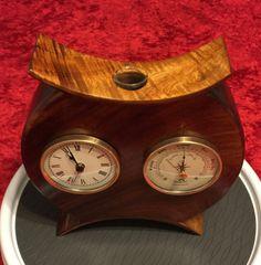 Hawaiian Koa Asian Inspired Clock/Barometer Bud Vase