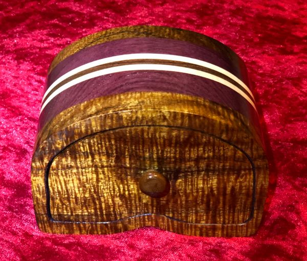 Hawaiian Koa Wood Purple Heart Bandsaw Jewelry Box