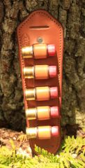 Leather padded shot gun shell holder 12 gauge tan