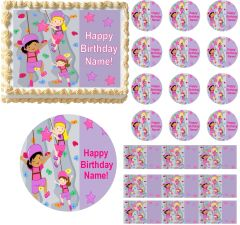 Girls ROCK CLIMBING Edible Cake Topper Image Frosting Sheet Cake Decoration