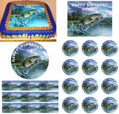 Bass Fishing Edible Cake Topper Image Cupcakes Fathers Day Fishing Cake Edible