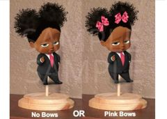 PRE CUT African American Sassy Boss Baby Girl Pink Bows Centerpiece with Wood Stand OR Card Stock Cut Out