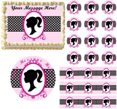 Girl Silhouette Barbie Inspired Edible Cake Topper Image Frosting Sheet