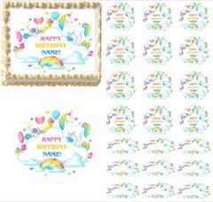 Rainbow Unicorn Party EDIBLE Cake Topper Image Frosting Sheet Cupcakes Unicorn