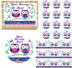 Cute PATCHWORK OWLS Edible Cake Topper Image Frosting Sheet