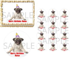 Pug Puppy Birthday Hat Sign EDIBLE Cake Topper Image Frosting Sheet Cupcakes Dog