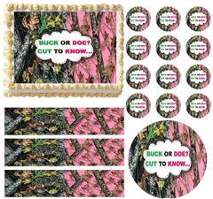 MOSSY OAK GENDER REVEAL BABY SHOWER Edible Cake Topper Image Frosting Sheet