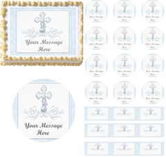 Boy Baptism Christening Religious Cross Edible Cake Topper Image Cupcakes