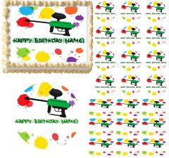 Paintball Splatter Paintball Gun Edible Cake Topper Image Frosting Sheet