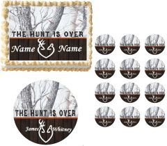 THE HUNT IS OVER Winter Camo Snowy Real Tree Edible Cake Topper Image Frosting Sheet