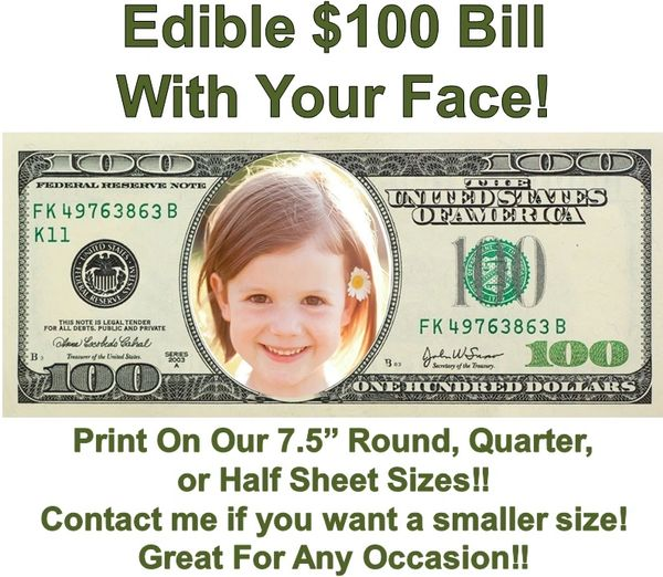 Money 100 Dollar Bill Face Edible Cake Topper Image Face Money Edible Cake Money